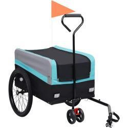 2-in-1 XXL pyörän perävaunu/kärry sininen harmaa ja musta -