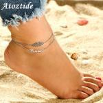 Atoztide 2019 New Personalized Custom Name Anklet For Women Gold Stainless Steel Charms Engraved Handwriting Love Anklet Gift