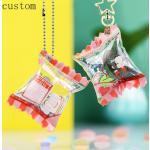 Cartoon Anime Custom Acrylic Candy Keychain Wholesale Printed Shake Inflated Acrylic Candy Bag Charms As Gift