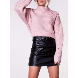 Cristin High Neck Knit Silver Pink