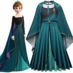 Disney Frozen Princess Anna Halloween Cosplay Costume Girls Stage Performance Dress Cloak 2pcs/set Christmas Gifts