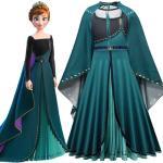 Disney Frozen Princess Anna Halloween Cosplay Costume Girls Stage Performance Dress Cloak 2pcs/set Christmas Gifts