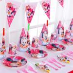 Disney Minnie Mouse Party Decoration Disposable Tableware Set Water Cup Napkin Plate Straw Baby Girl Birthday Party Supplies