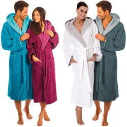 Egeria Cairo Bathrobe Sauna Gown with Hood for Men and Women 322/331 Turquoise / Capri Blue Size M 100% Cotton Weight: 360 g/m²