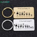 Family Love Cute Keychain Engraved The Smith Family for Parents Children Present Keyring Bag Charm Families Member Gift Keyrings