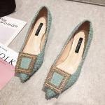 Fashion Buckle Pumps Women High Heel Shoes Elegant Rhinestone Ladies Office Shoes Pointed Toe Women Party Wedding Shoes Pumps