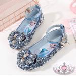 Genuine Frozen Elsa Crystal Shoes Soft Bottom Summer Autumn Girls Stage Catwalk Performance Flat Bottom Princess Shoes