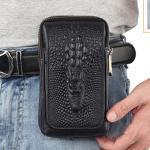 Hot Sale Men Fanny Pack Waist Hook Bag Crocodile Grain Pocket Hip Belt Bum Cell/Mobile Phone Cover Case Genuine Leather Bags