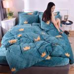 JUSTCHIC Winter Warm Flannel Quilt Cover Thicken Double-sided Fleece Duvet Cover 220x240cm Single Double Queen King Size