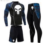 Men Sports sportswear Training Kit Compression Clothing MMA skull T shirt pants Gym leggings dry Tracksuit Men Jogging suit 4xl