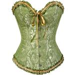 PhilaeEC Women's Bridal Lace Up Satin Boneless Corset with G-String - Green, size: 40-42