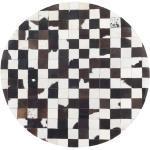 Pyöreä mustavalkoinen nahkamatto 140 cm BERGAMA
