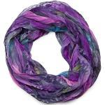 styleBREAKER feather pattern batik style loop tube scarf, crash and crinkle, silky and light 01016064, color:violet